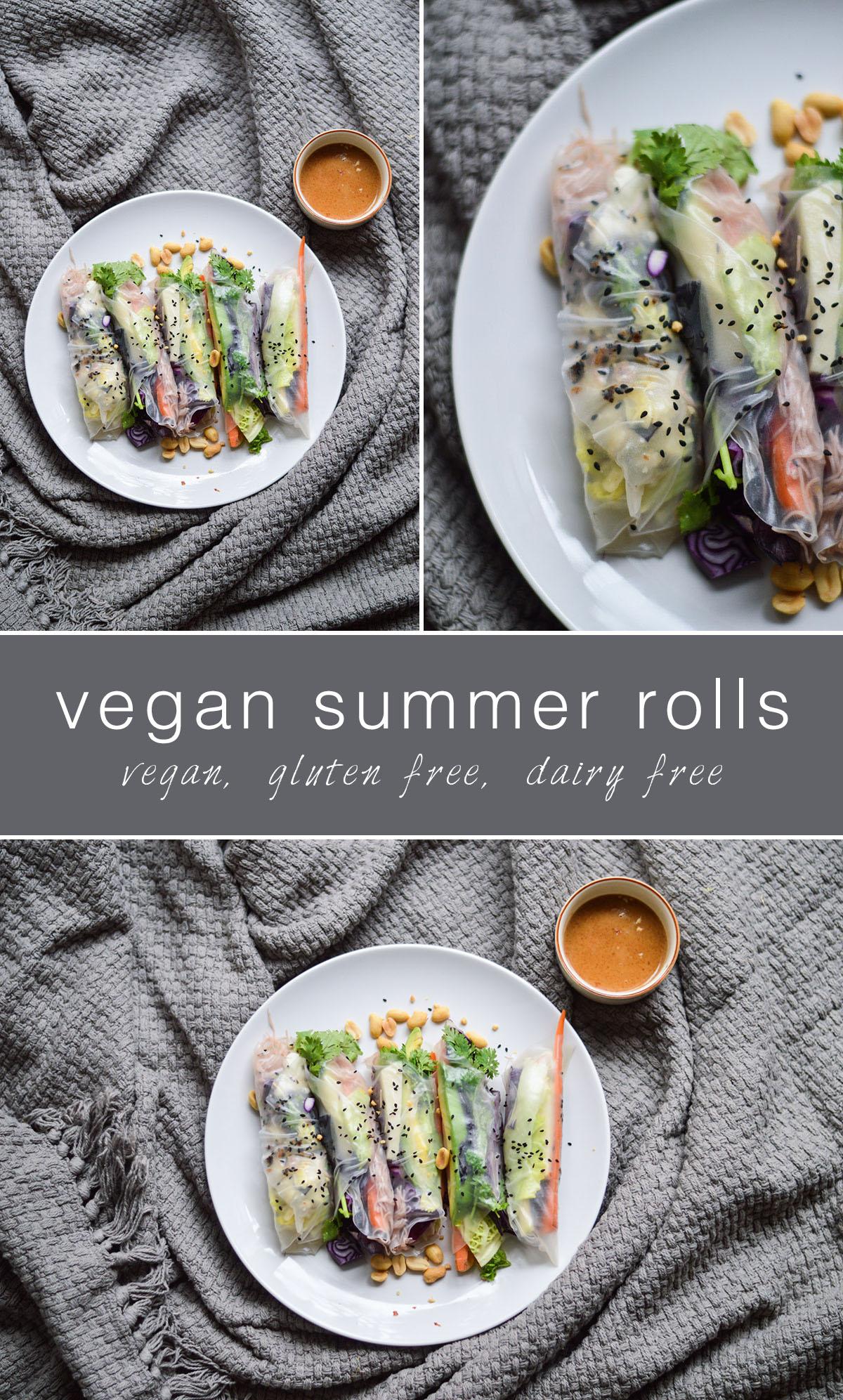 Vegan summer rolls with peanutbutter dip. Vegan, gluten free, dairy free.