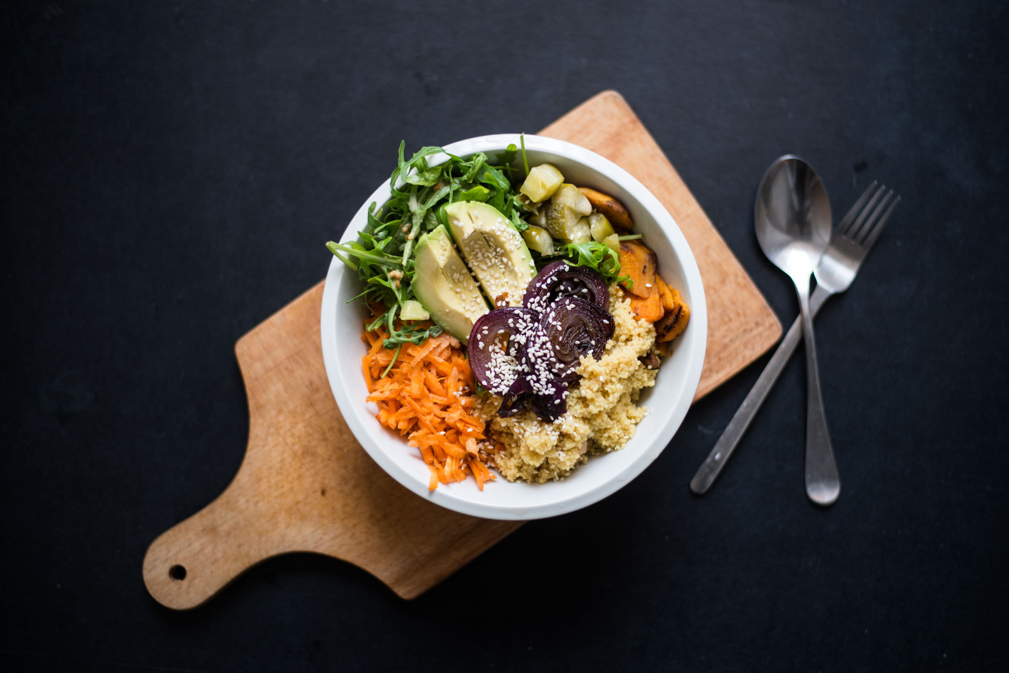 warm couscous salad with rocket and sweet potatoes