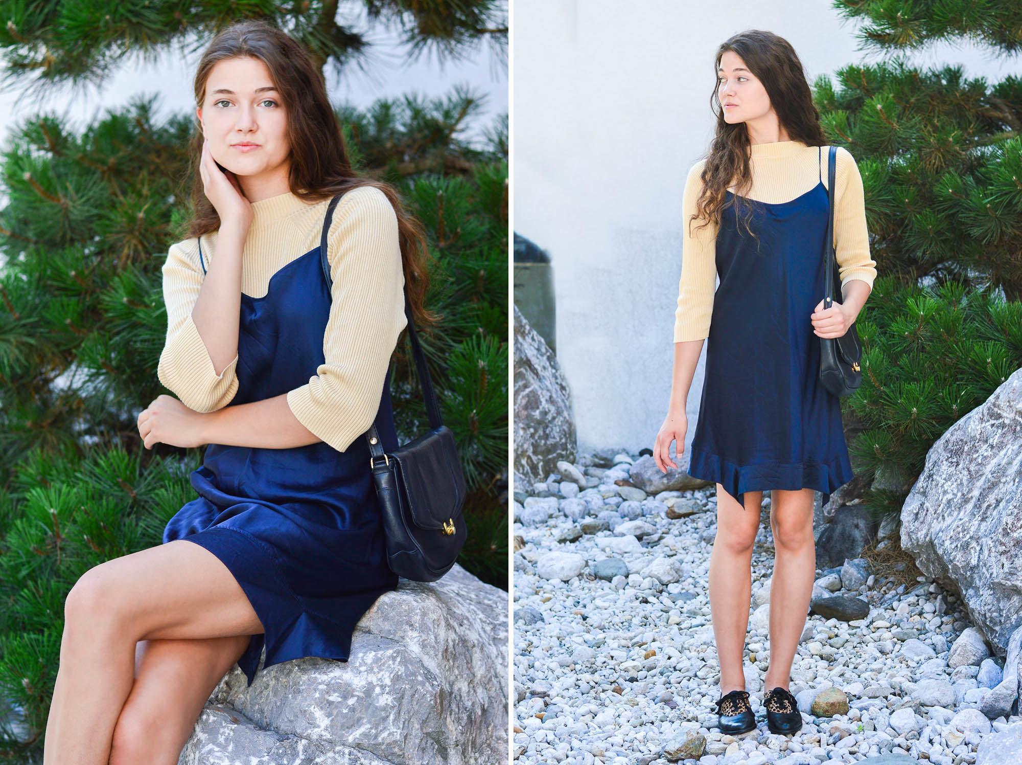 vintage slip dress casual everyday outfit dogdays of summer vintage onlineshop graz
