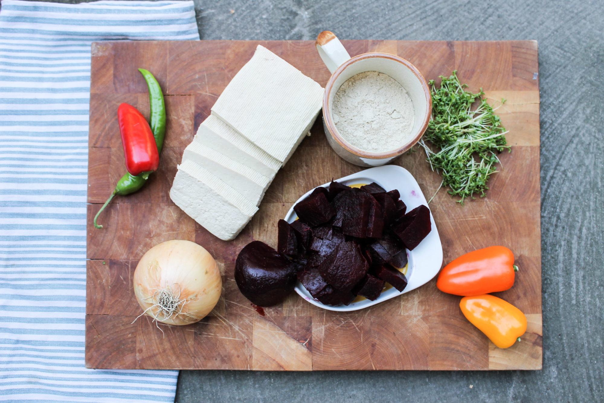 vegan gluten free burger patties tofu beetroot