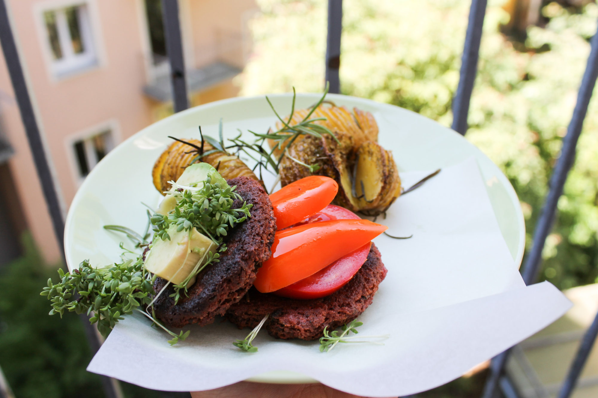 gluten free vegan burger patties tofu beetroot -6