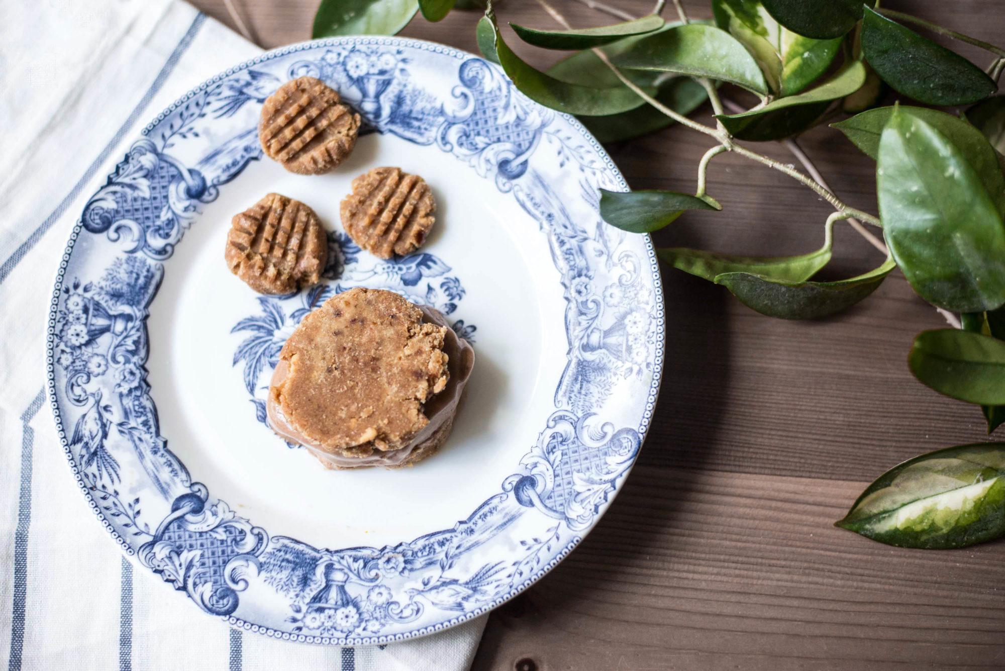 ein stück vom glück roh-vegane Erdnuss cookies mit schokoladen nicecream