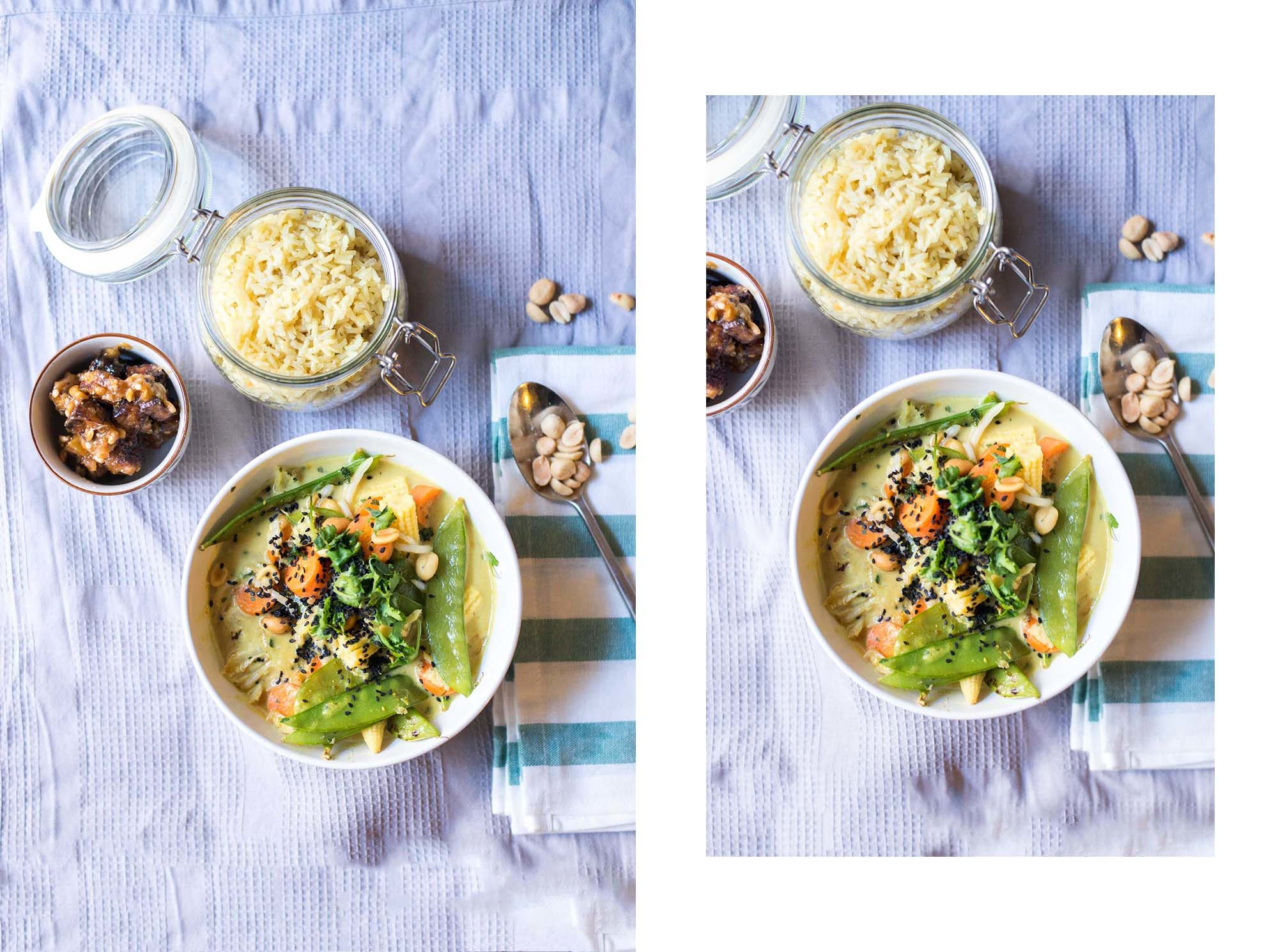 veganes thai-inspiriertes gemüsecurry Reis Tofu Erdnusbutter dogdays of summer blog vintage onlienshop graz