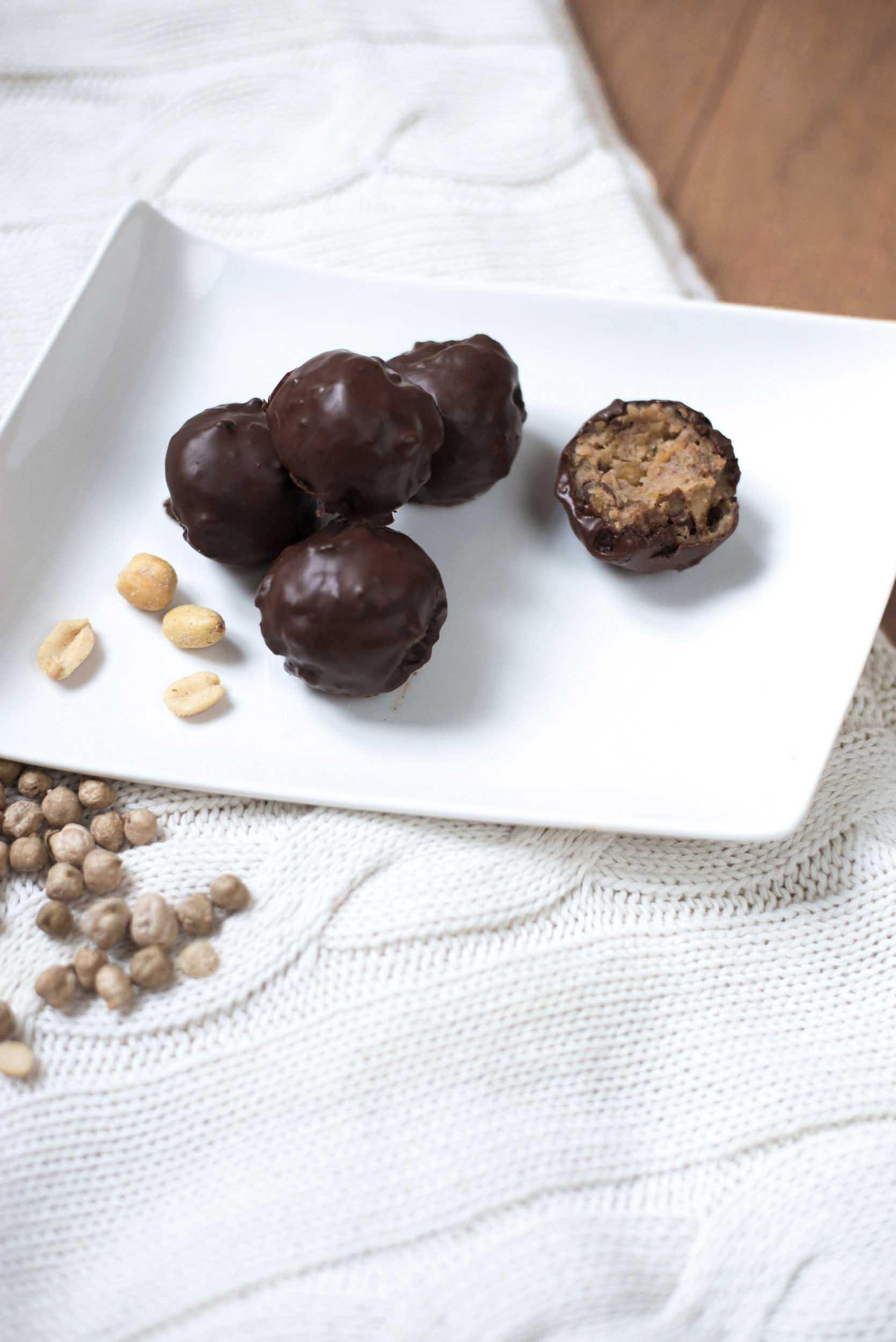 vegan peanut butter cookie dough balls gluten-free chocolate chickpeas peanuts
