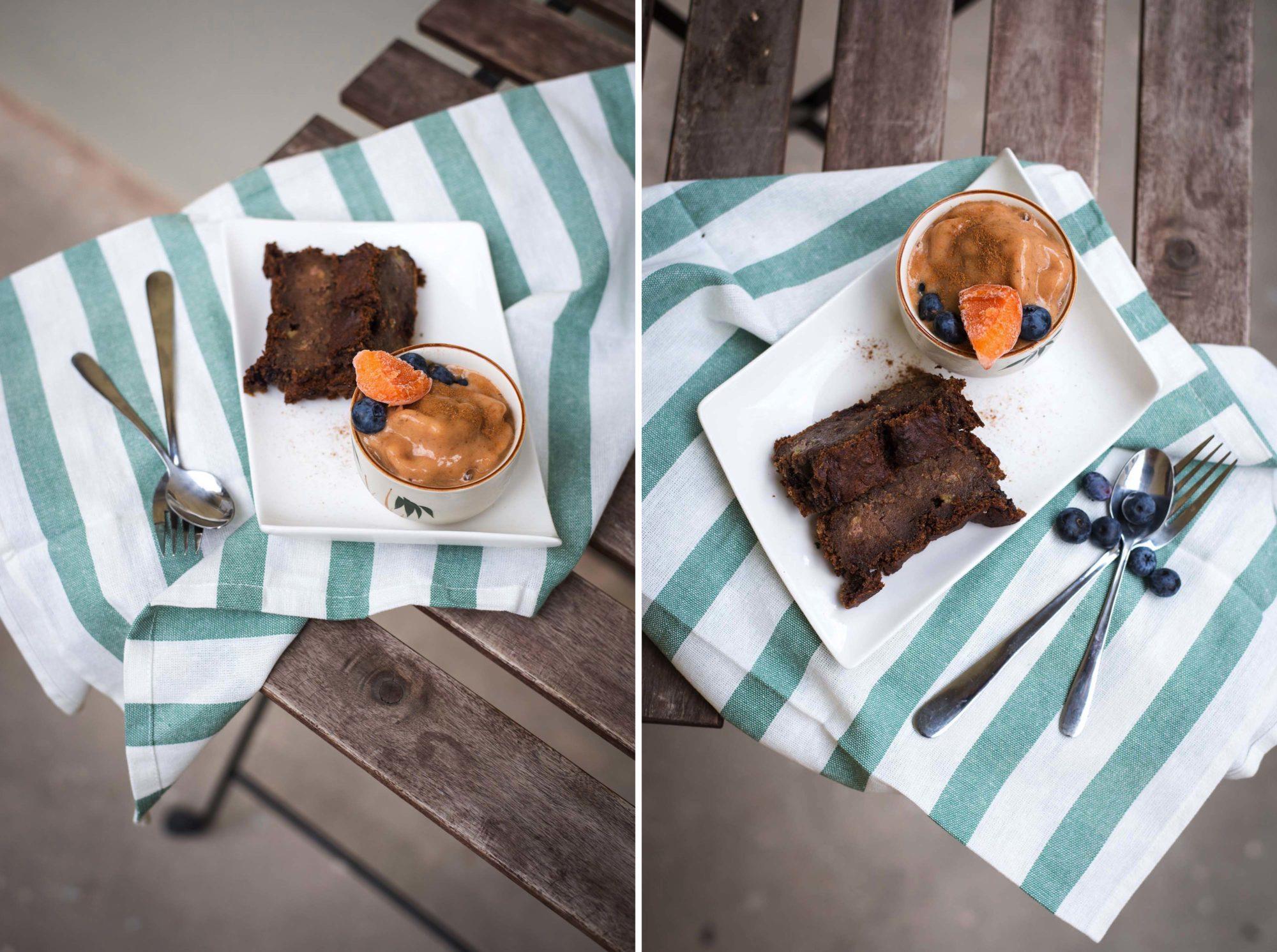 Vegan Schokolade Bananenbrot Marillenköndel Eis Aprikose Nicecream fugdy speckig gesund lecker vegane Ernährung Dessert Nachspeise