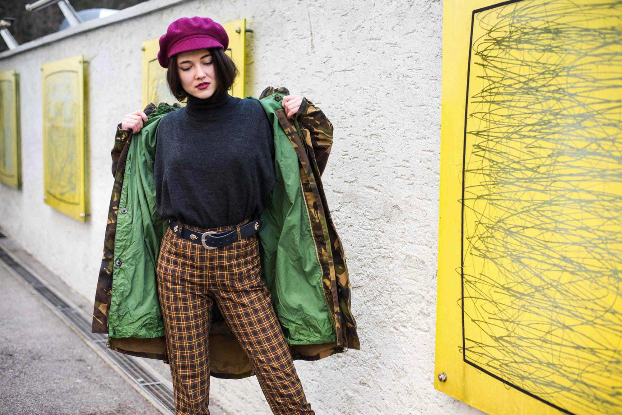 Karierte Hose Outfit Hipster Retro Vintage Mode Dogdays of Summer Vintage Onlineshop Graz Steiermark Österreich