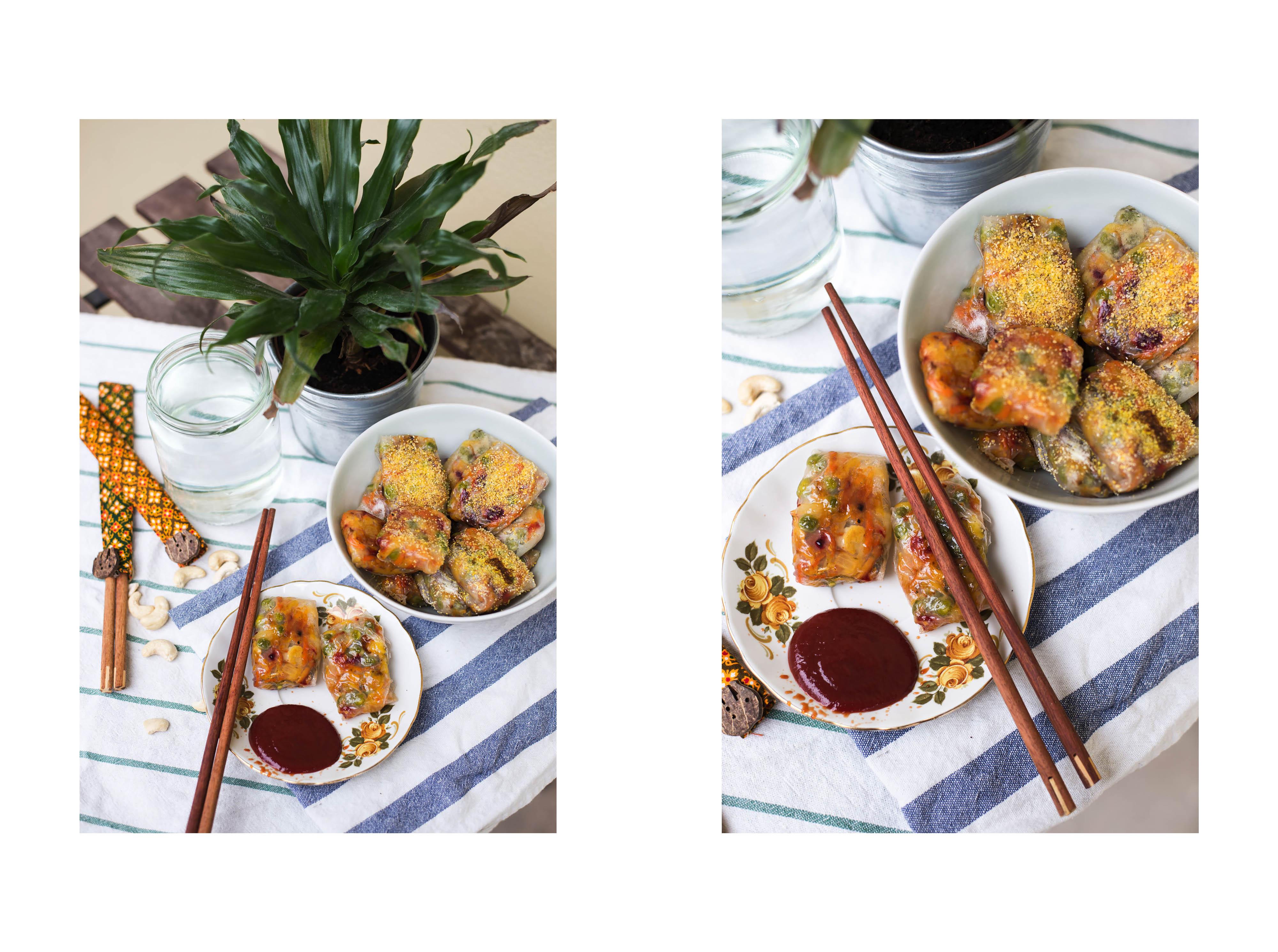 Strudel-Päckchen, vegan. Asiatisch Steirisch gluten-frei soja-frei wintergemüse Cashewkerne rote Rüben Kartoffeln Karfiol Erbsen