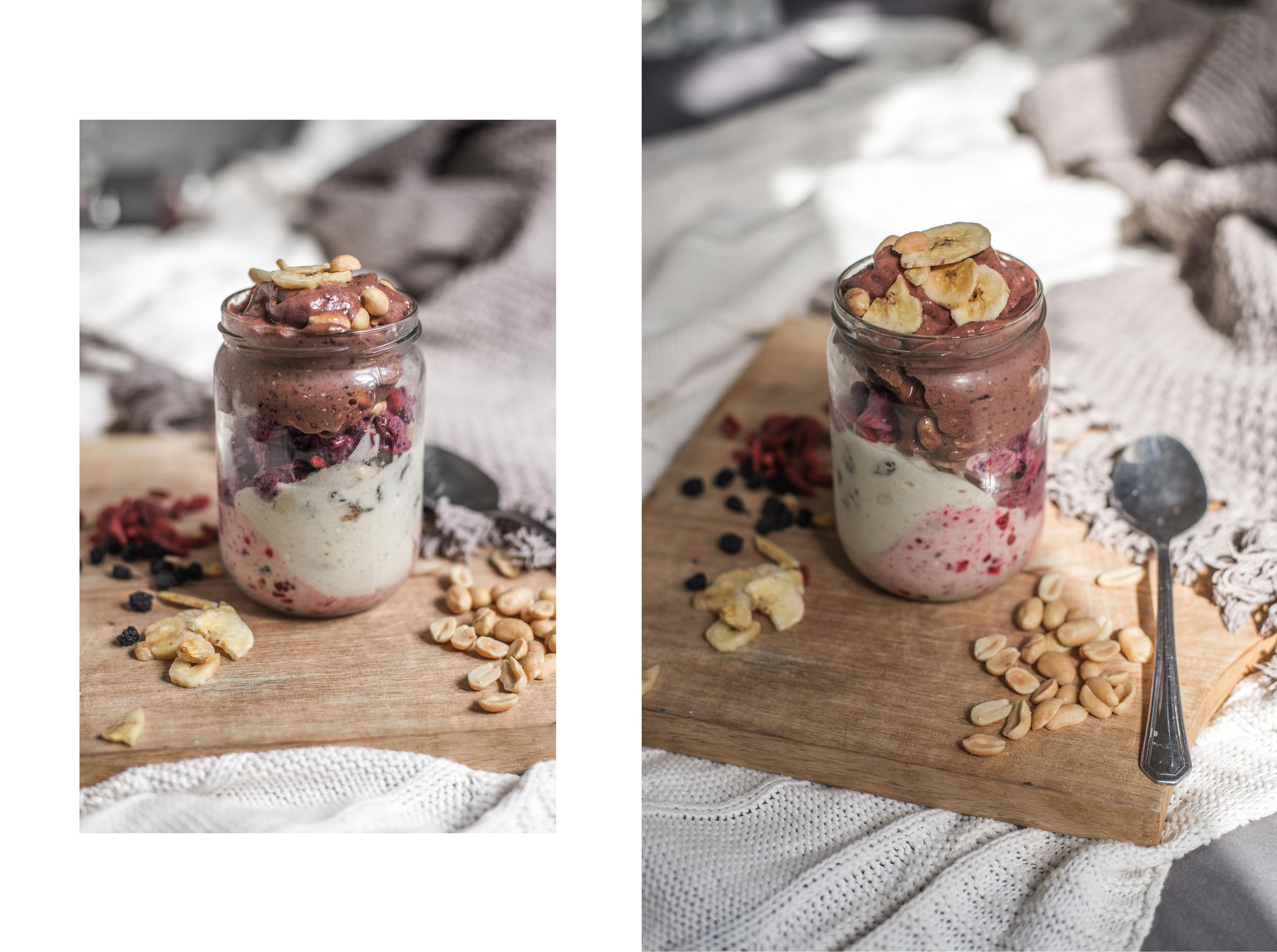Super Gesundes Eis [Superfood Nice Cream] | roh-vegan, gluten-frei, zuckerfrei Erdnussbutter Gojibeeren Aroniabeeren Apfelbeere Himbeere Heidelbeere Banane Schokolade