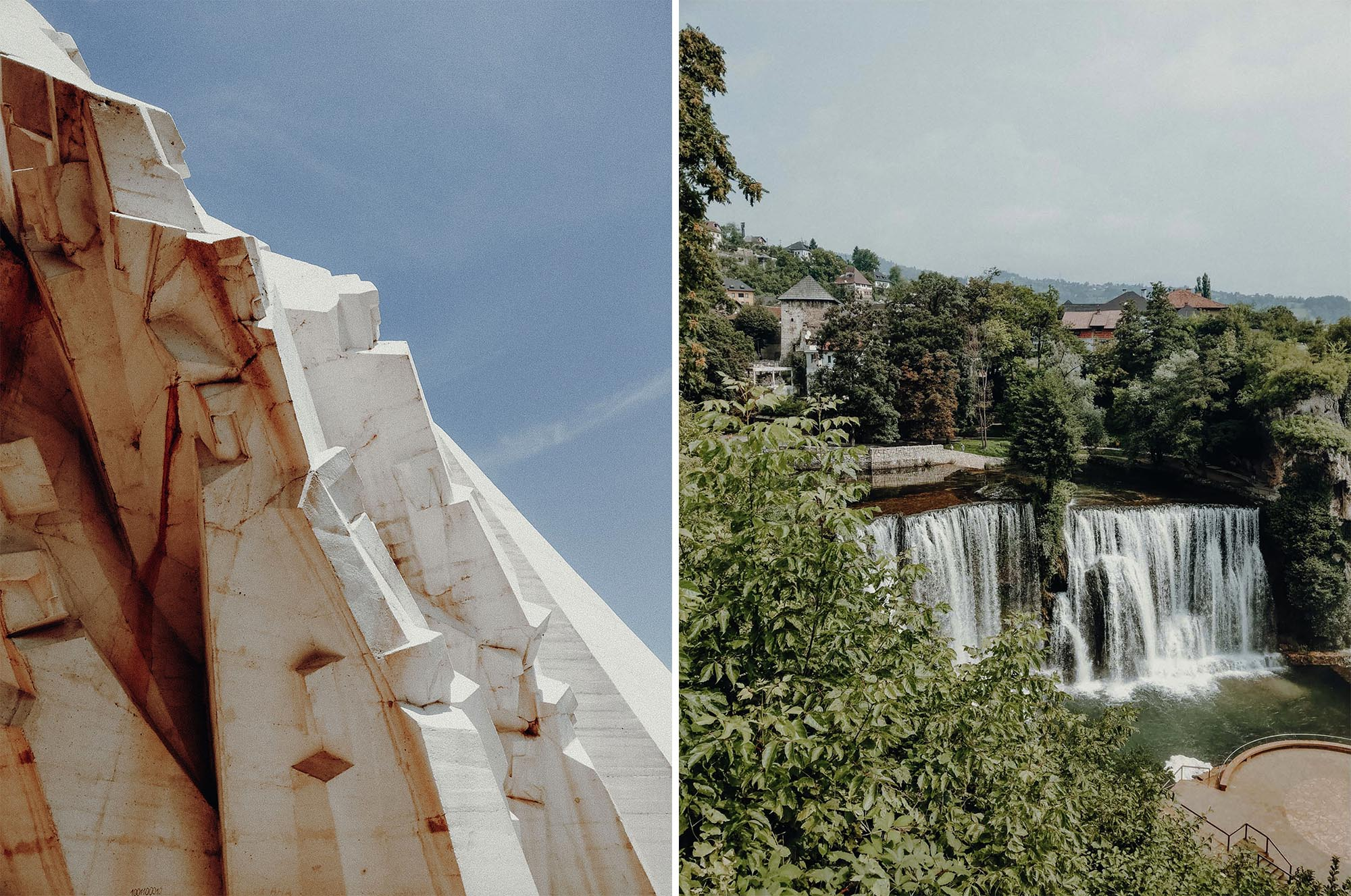 Kriegsdenkmal in Bosnien und der Wasserfall in Jajce. Roadtrip durch Bosnien Montenegro Kroatien. Am Balkan vegan essen, reisen, fahren, packen. Dogdays of Summer vegan vintage Blog