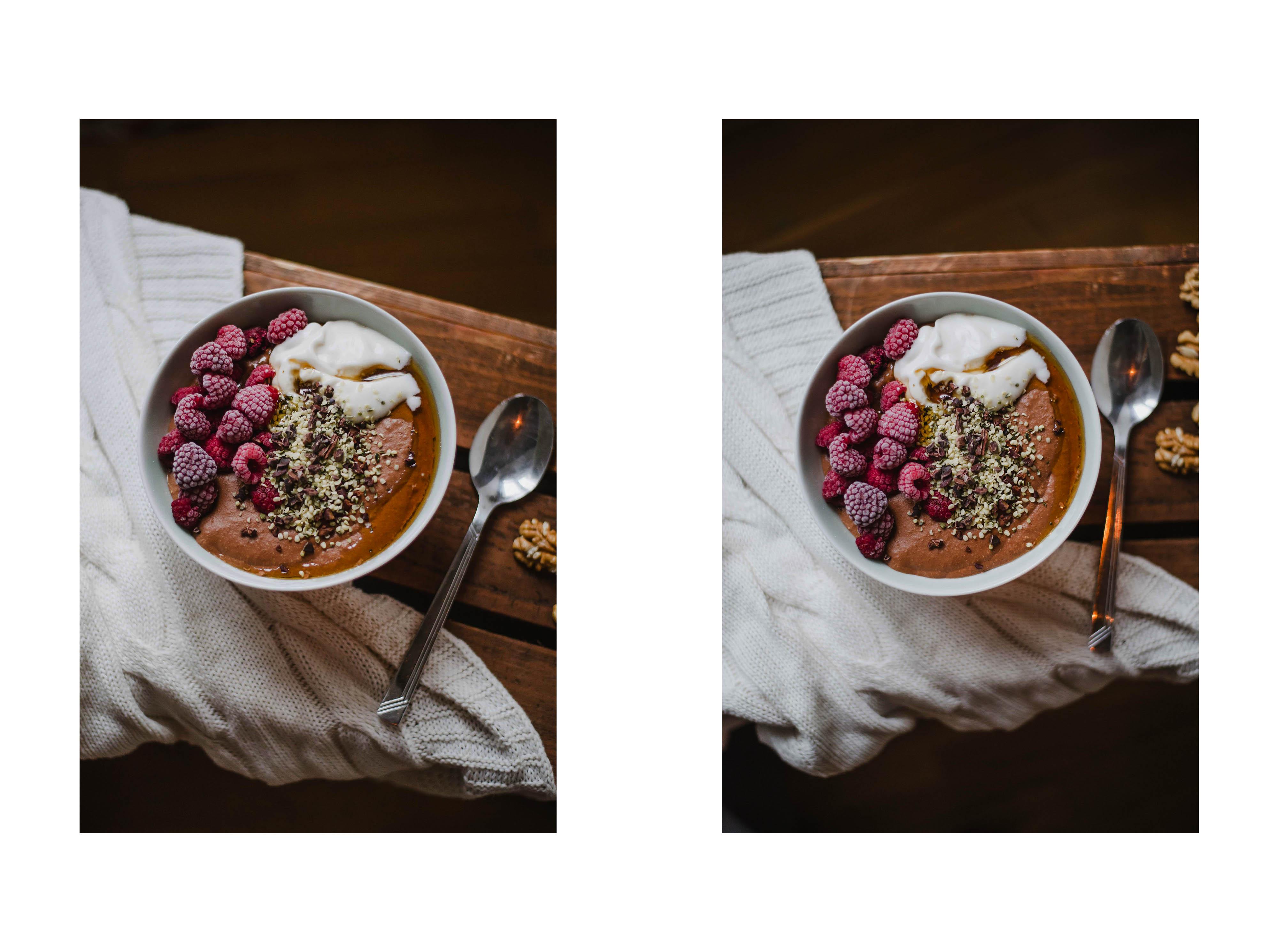 Warmer Schokoladen Porrdige im Herbst: Wie Schoko-Mousse mit Himbeeren