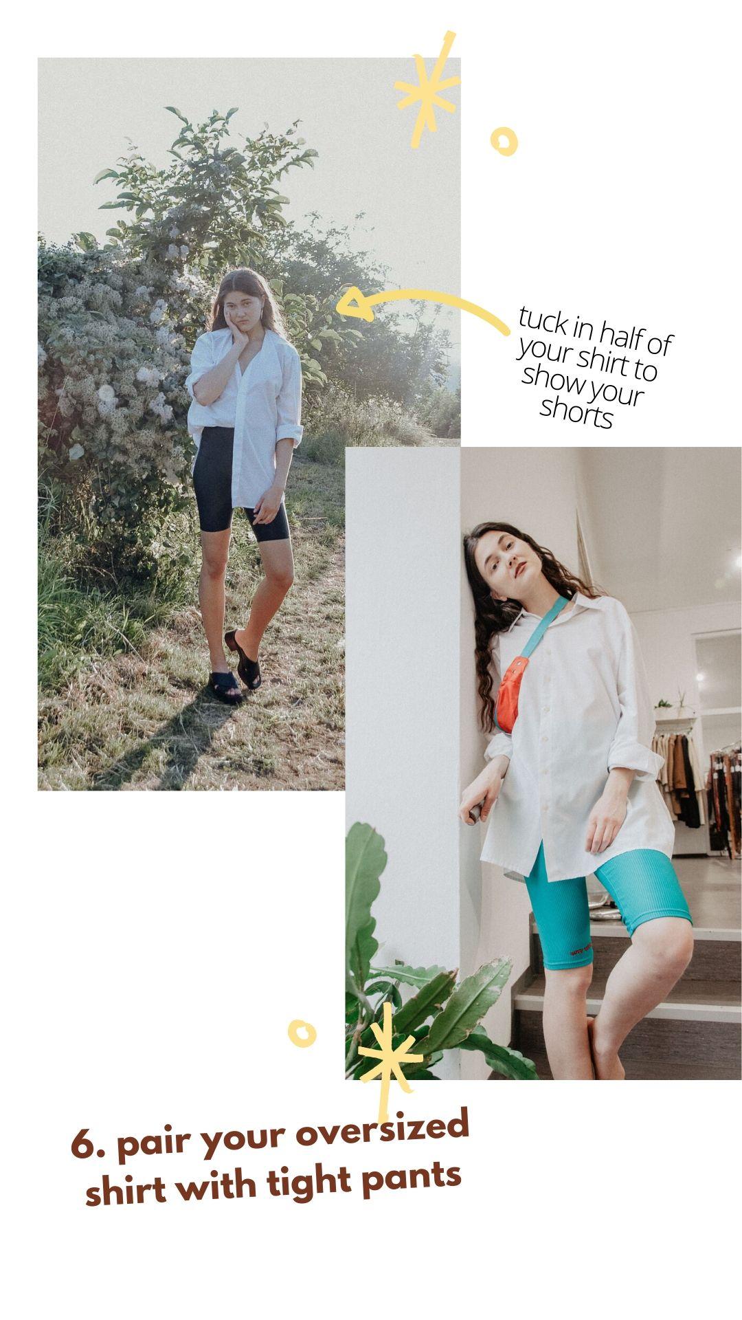 oversized Vintage-Hemd Inspiration mit Radlershorts (Radlerhose)