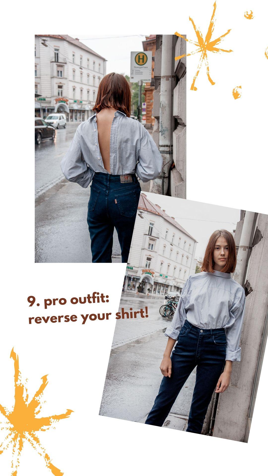 Vintage-Hemd Inspiration: Drehe das Hemd um für einen High-Fashion Look!