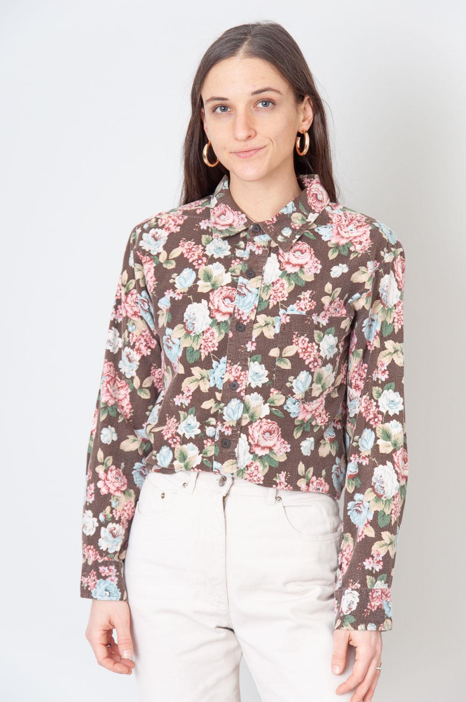 Spring Flowers Braune Bluse Mit Blumenmuster