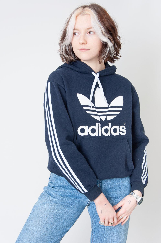 White Adidas Dukelblauer Hoodie Mit Streifen