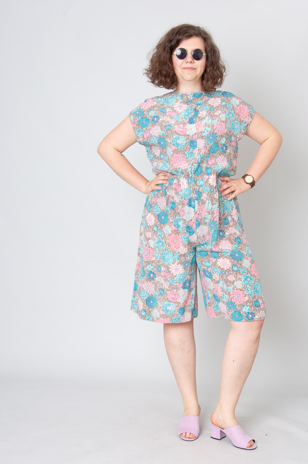 Blue And Pink Flowers Playsuit