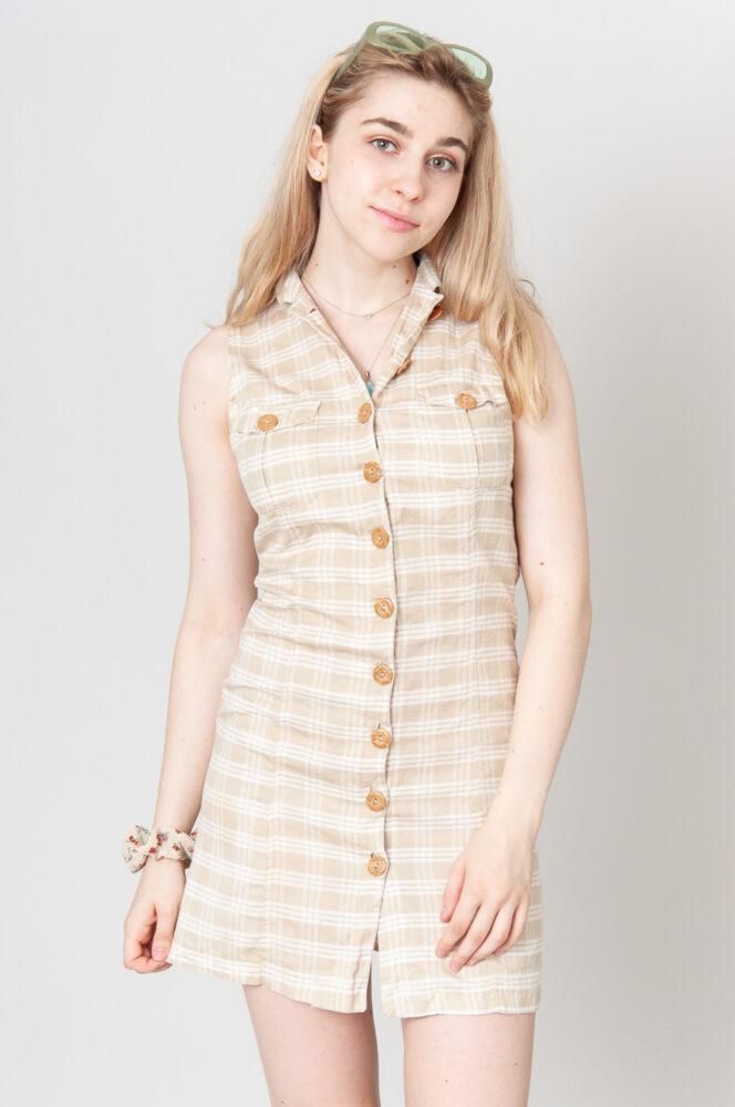 Button Line Minikleid Beige