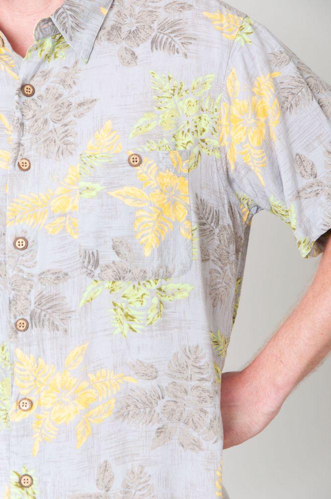 Green And Yellow Flowers Kurzarmhemd 5