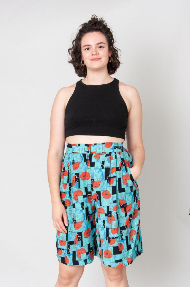 Red Poppies Shorts High Waist