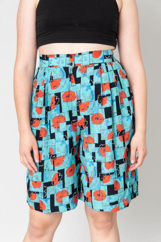 Red Poppies Shorts High Waist 2