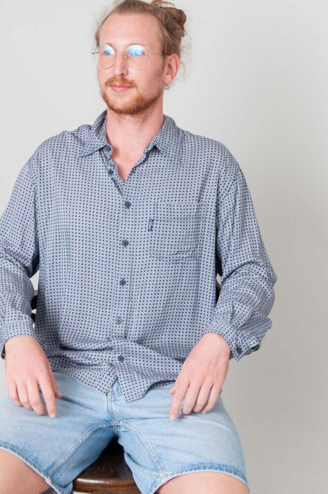 Small Blue Pattern Langarmhemd