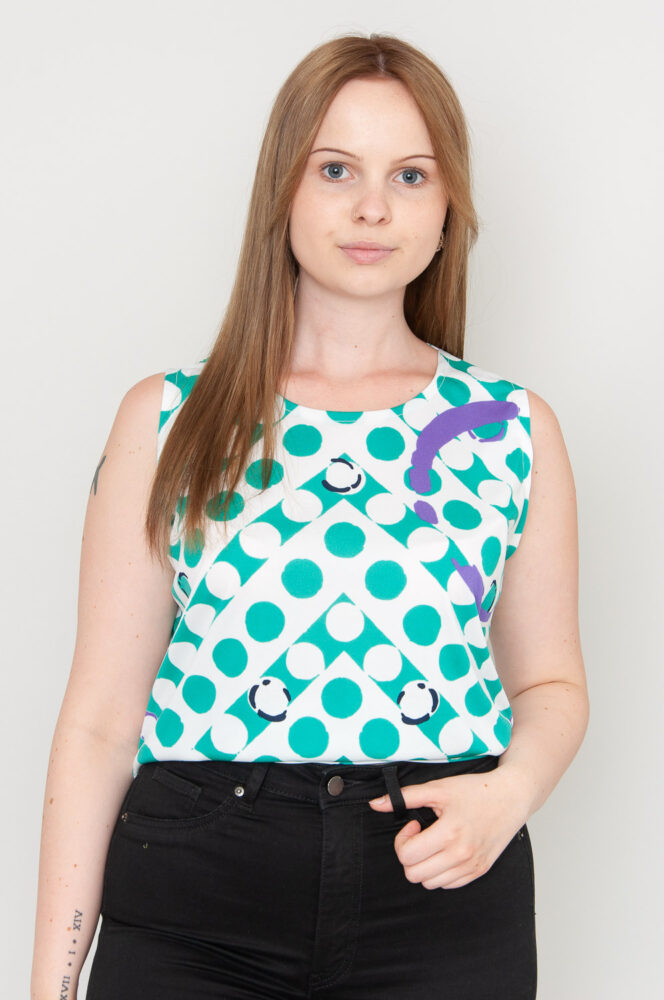 Turquoise Circles Top
